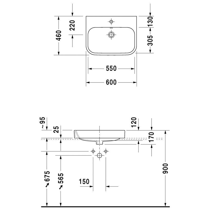 duravit happy d 2 aufsatzbecken 60 cm 1 hahnloch. Black Bedroom Furniture Sets. Home Design Ideas