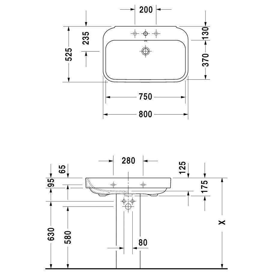 duravit happy d 2 waschtisch 80 cm mit 3 hahnl chern. Black Bedroom Furniture Sets. Home Design Ideas