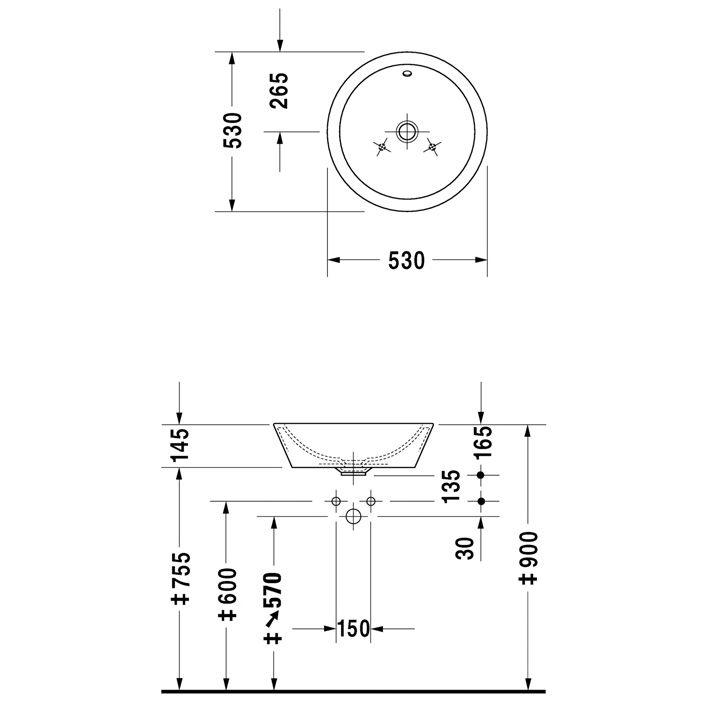 duravit starck 1 aufsatzbecken 53 cm art 0447530000 megabad. Black Bedroom Furniture Sets. Home Design Ideas