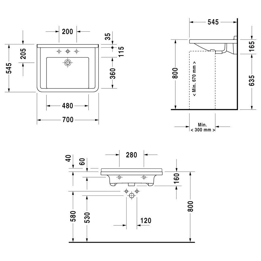 duravit starck 3 waschtisch vital 70 cm 0309700000 megabad. Black Bedroom Furniture Sets. Home Design Ideas
