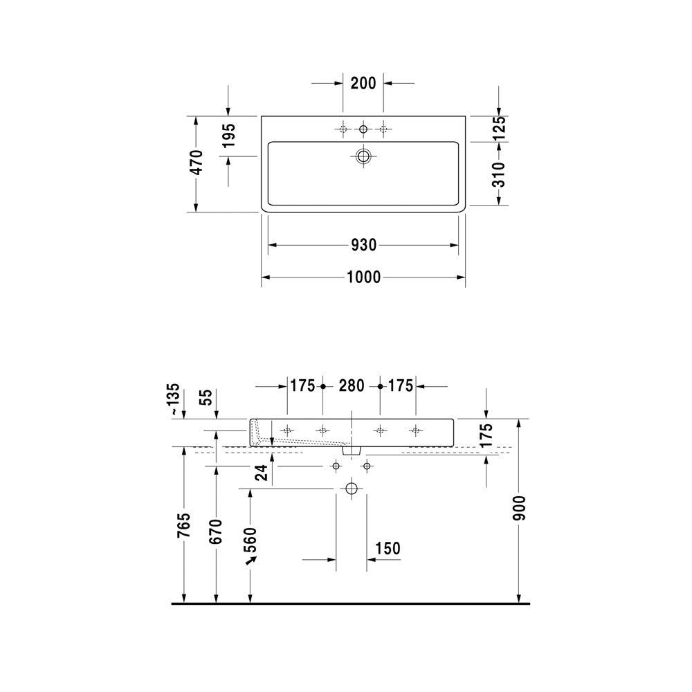 duravit vero waschtisch 100 cm mit 3 hahnl chern megabad. Black Bedroom Furniture Sets. Home Design Ideas