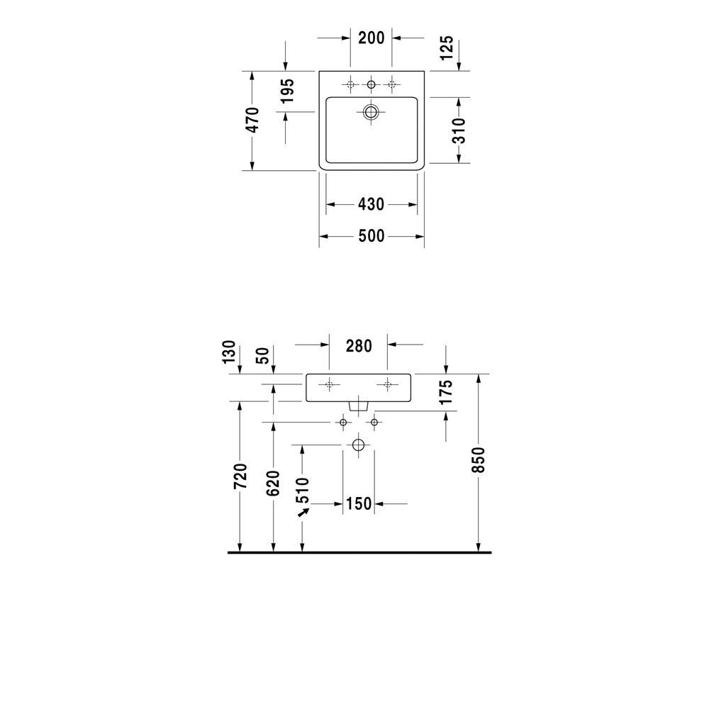 duravit vero waschtisch 50 cm mit hahnloch 0454500000 megabad. Black Bedroom Furniture Sets. Home Design Ideas