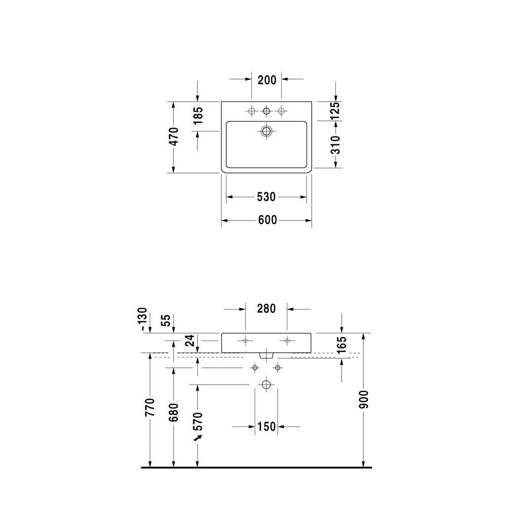 duravit vero waschtisch 60 cm mit 1 hahnloch 045460. Black Bedroom Furniture Sets. Home Design Ideas