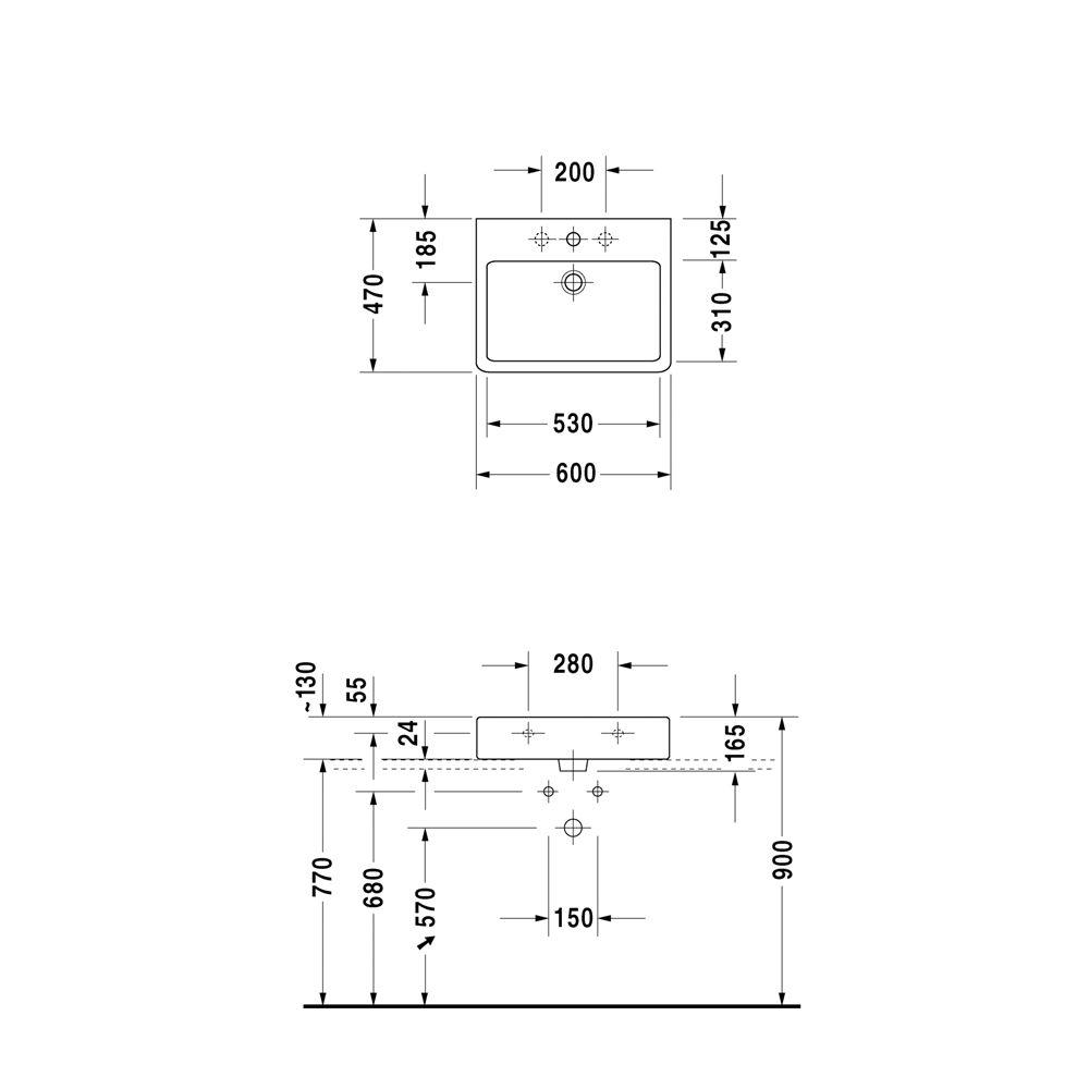 duravit vero waschtisch 60 cm geschliffen ohne hahnloch 0454600028 megabad. Black Bedroom Furniture Sets. Home Design Ideas