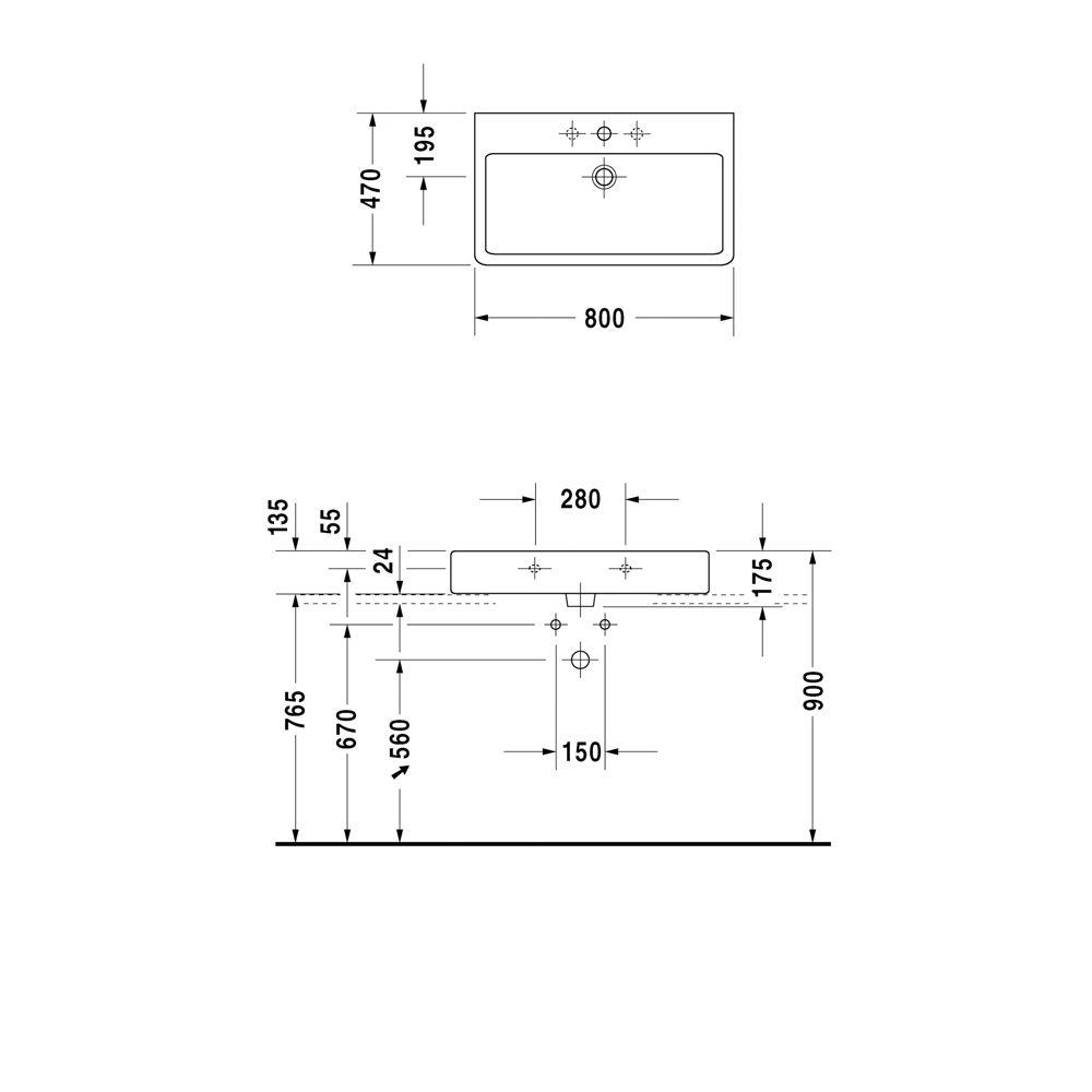 duravit vero waschtisch 80 cm mit 1 hahnloch 0454800041 megabad. Black Bedroom Furniture Sets. Home Design Ideas