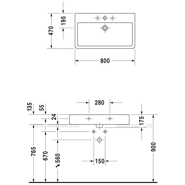 duravit vero black waschtisch 80 cm 3 hahnl cher. Black Bedroom Furniture Sets. Home Design Ideas