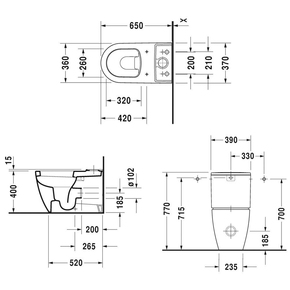 duravit me by starck stand wc kombination 2170090000 megabad. Black Bedroom Furniture Sets. Home Design Ideas
