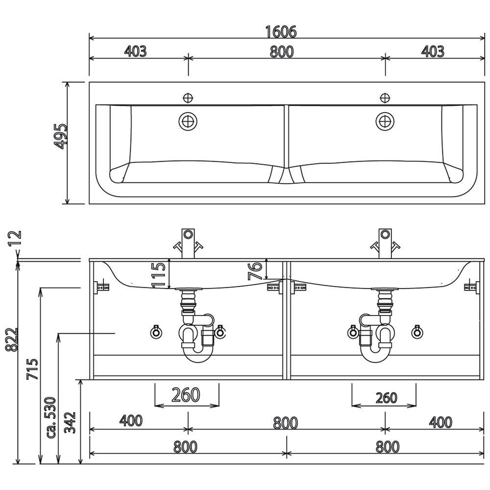 Puris star line glas m bel doppelwaschtisch 160 cm mit for Doppelwaschbecken 160 cm