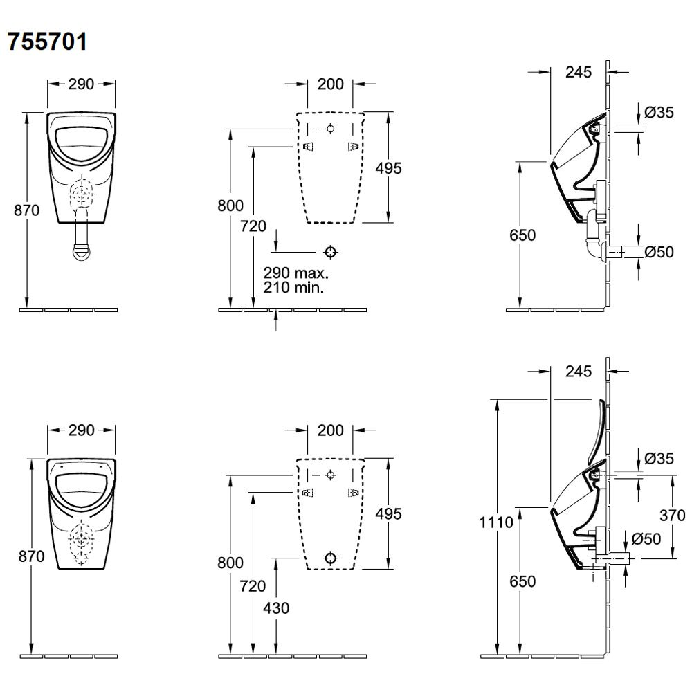 villeroy boch compact absaug urinal 755701 f deckel megabad. Black Bedroom Furniture Sets. Home Design Ideas