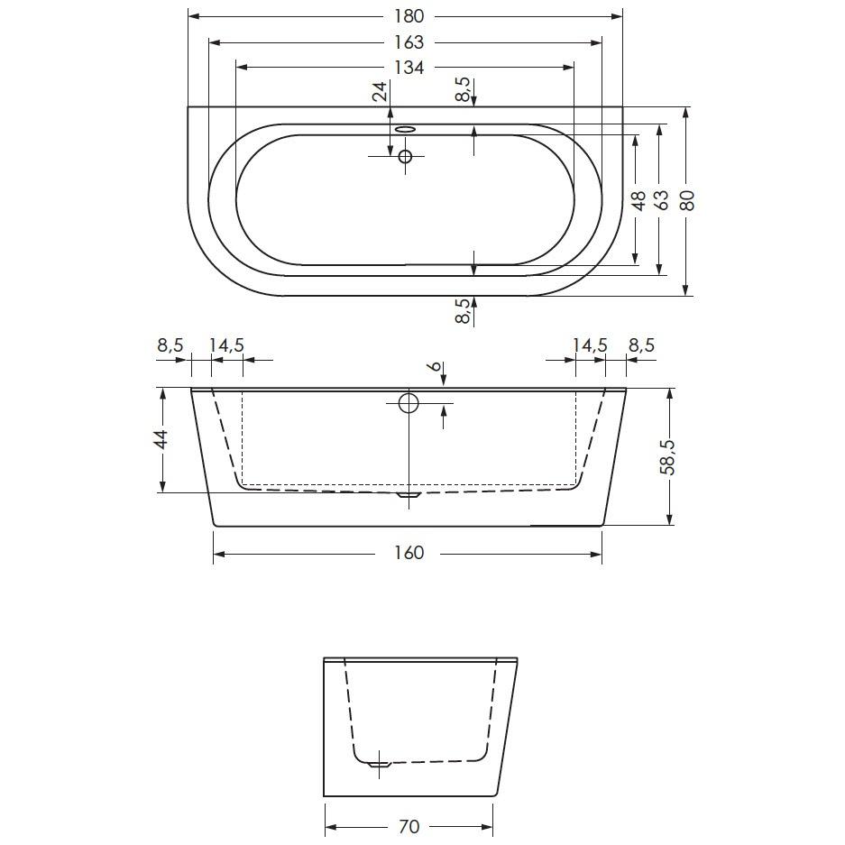 repabad livorno oval f badewanne wand 180 x 80 cm 31671. Black Bedroom Furniture Sets. Home Design Ideas