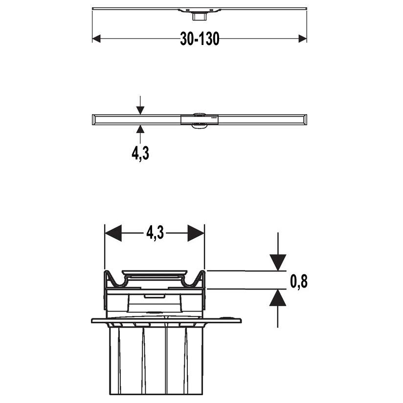 geberit cleanline 60 duschrinne 130 cm megabad. Black Bedroom Furniture Sets. Home Design Ideas