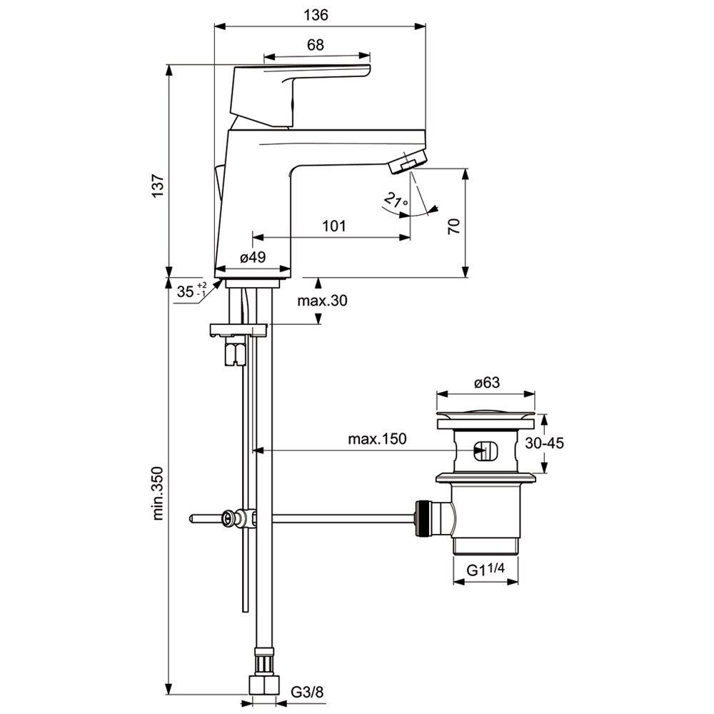 ideal standard ceravito waschtischarmatur mit. Black Bedroom Furniture Sets. Home Design Ideas