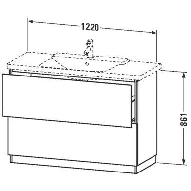 Duravit L-Cube Waschtischunterbau stehend mit 2 Auszügen, 120 x 48 ... | {Waschtischunterschrank stehend 89}