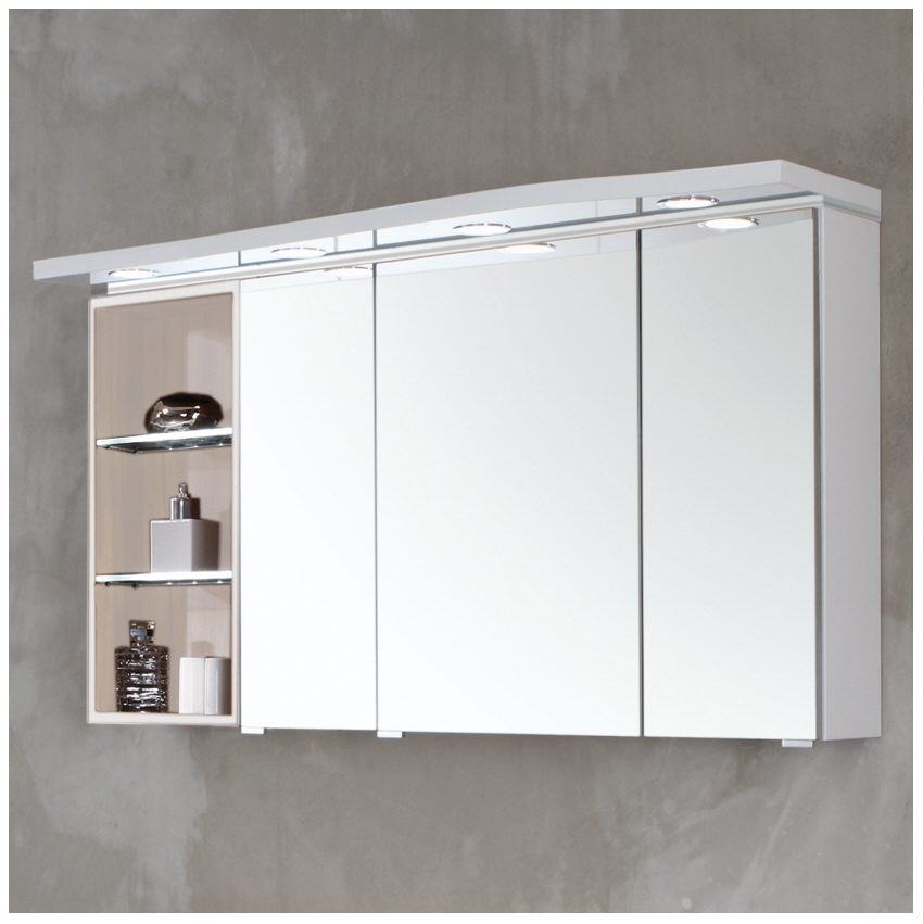 puris swing spiegelschrank 120 x 15 x 68 cm mit 4 led einbaustrahlern und regal links. Black Bedroom Furniture Sets. Home Design Ideas
