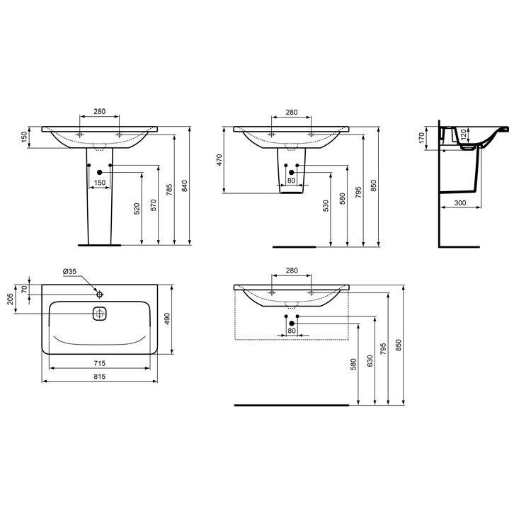 ideal standard tonic ii m belwaschtisch 81 5 cm k083901. Black Bedroom Furniture Sets. Home Design Ideas