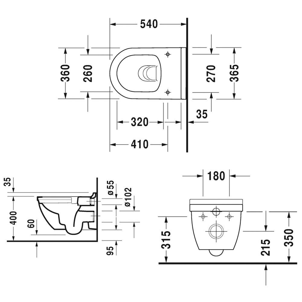 duravit starck 3 wand wc rimless set 45270900a1 megabad. Black Bedroom Furniture Sets. Home Design Ideas