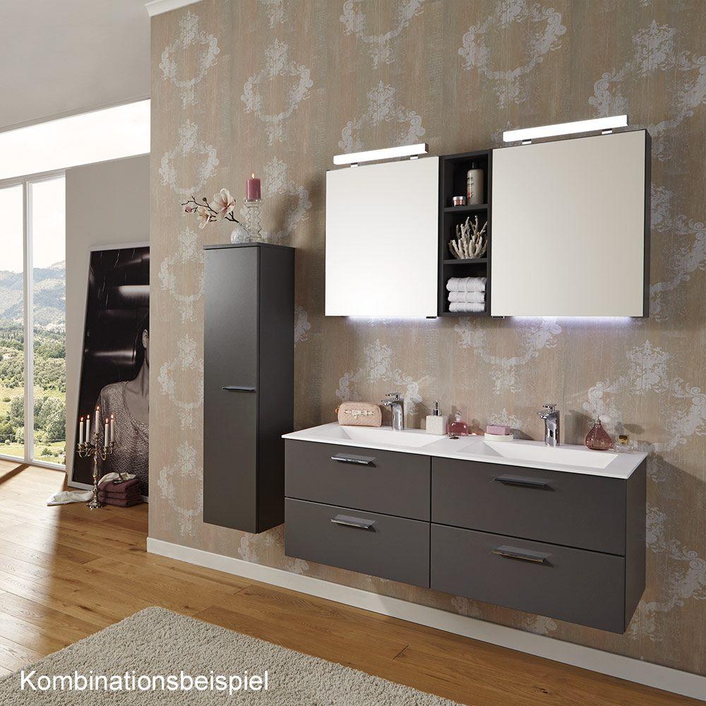puris milano spiegelschrank 60 x 15 x 64 cm mit led aufbauleuchte kleine t r rechts. Black Bedroom Furniture Sets. Home Design Ideas
