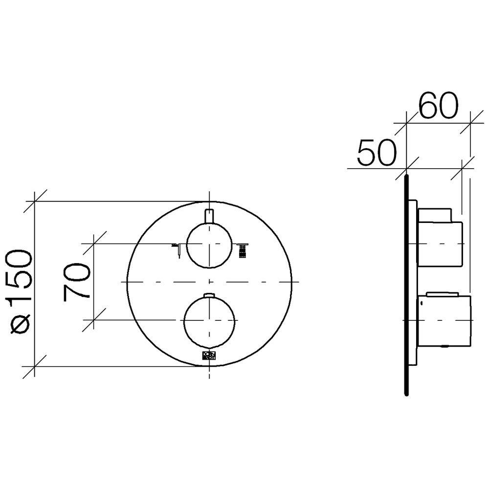 Dornbracht UP-Thermostat mit Zweiwege-Mengenregul. 36426970-00 ...