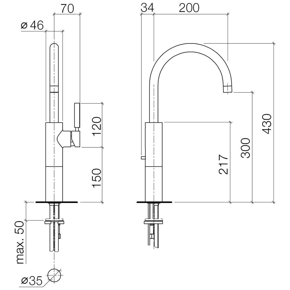 dornbracht tara logic hohe einhandbatterie 33533885 00. Black Bedroom Furniture Sets. Home Design Ideas