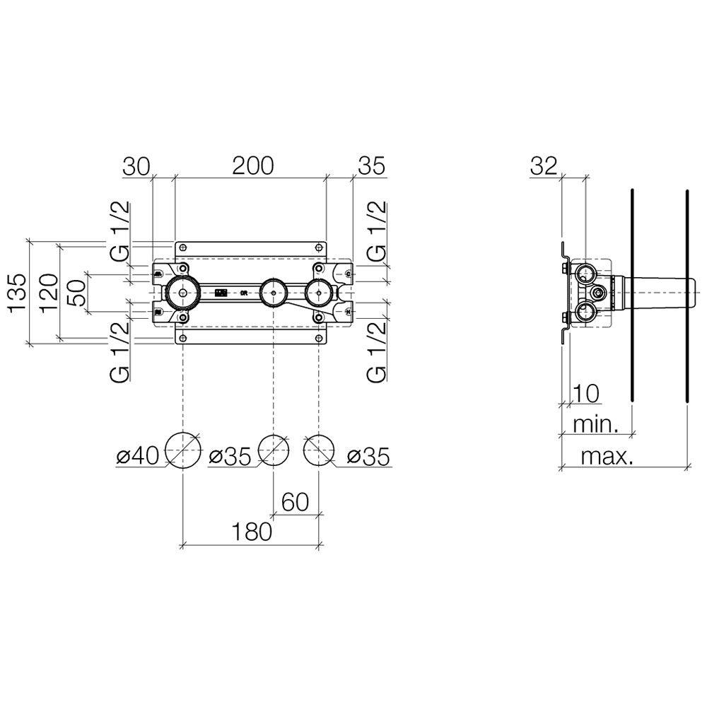 dornbracht grundk rper 2 ventile umstellung 3569597090. Black Bedroom Furniture Sets. Home Design Ideas