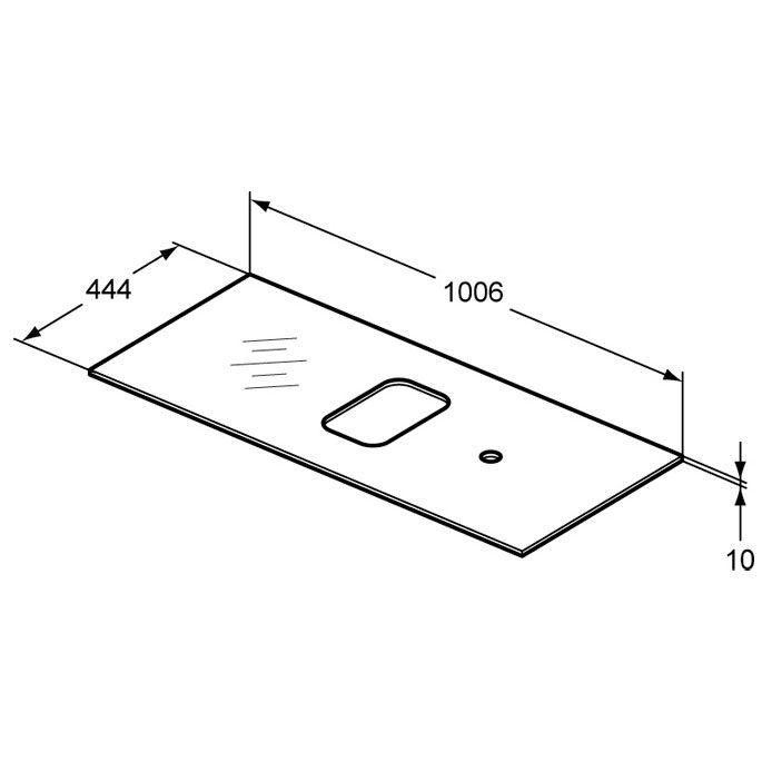 ideal standard tonic ii glaskonsole 100 cm f r schale asymmetrisch r4336sa megabad. Black Bedroom Furniture Sets. Home Design Ideas