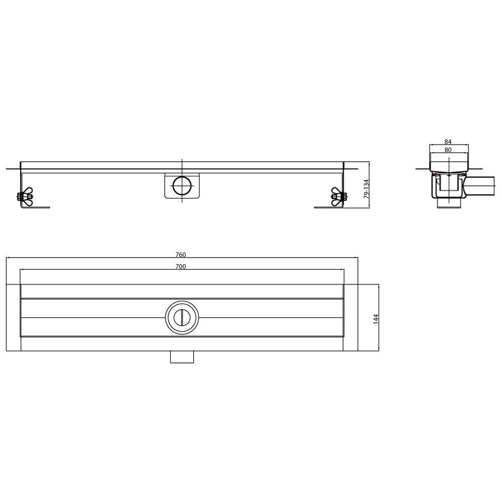 aco showerdrain e duschrinne ohne aufkantung 70 cm megabad. Black Bedroom Furniture Sets. Home Design Ideas