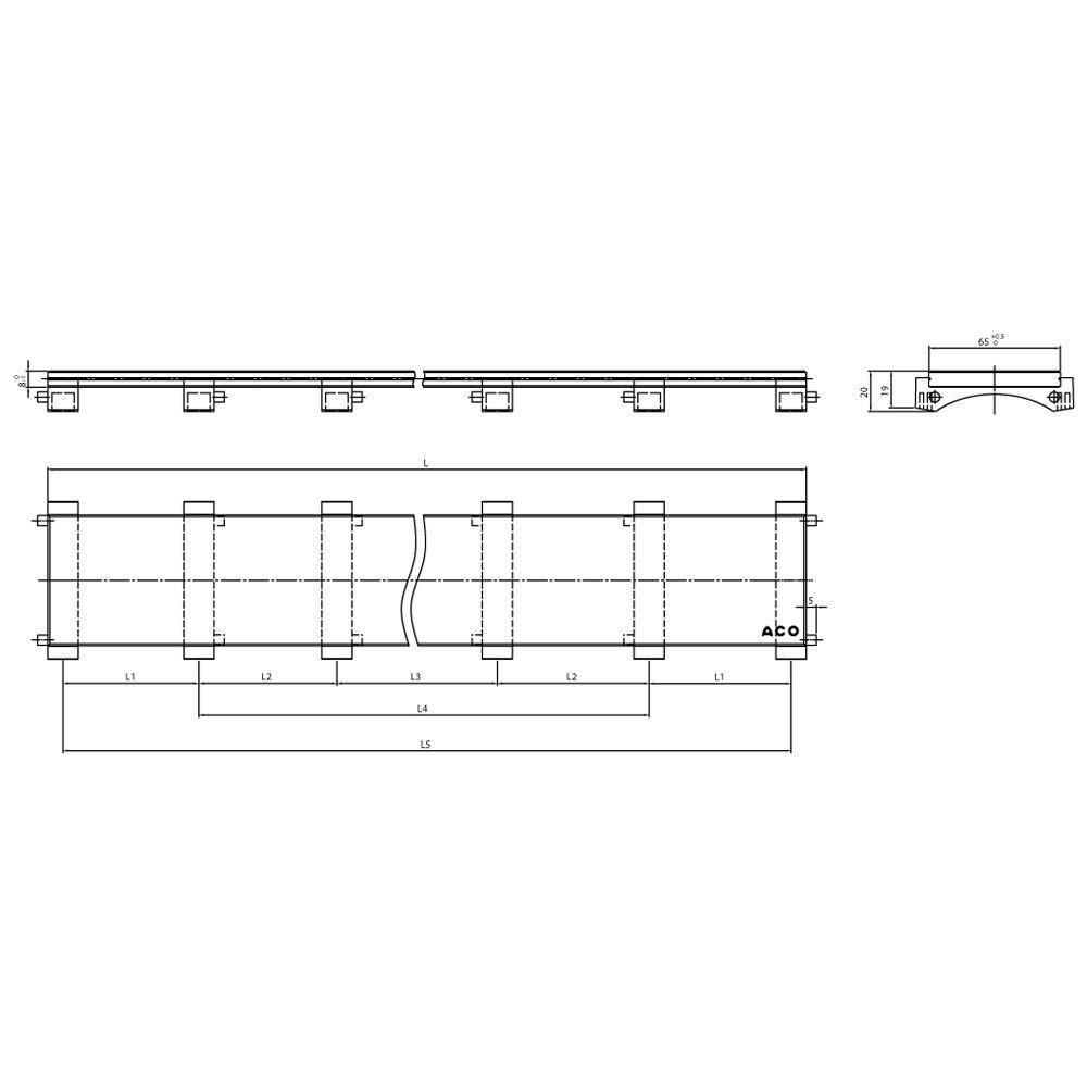 aco showerdrain e design abdeckung aus glas schwarz 120. Black Bedroom Furniture Sets. Home Design Ideas