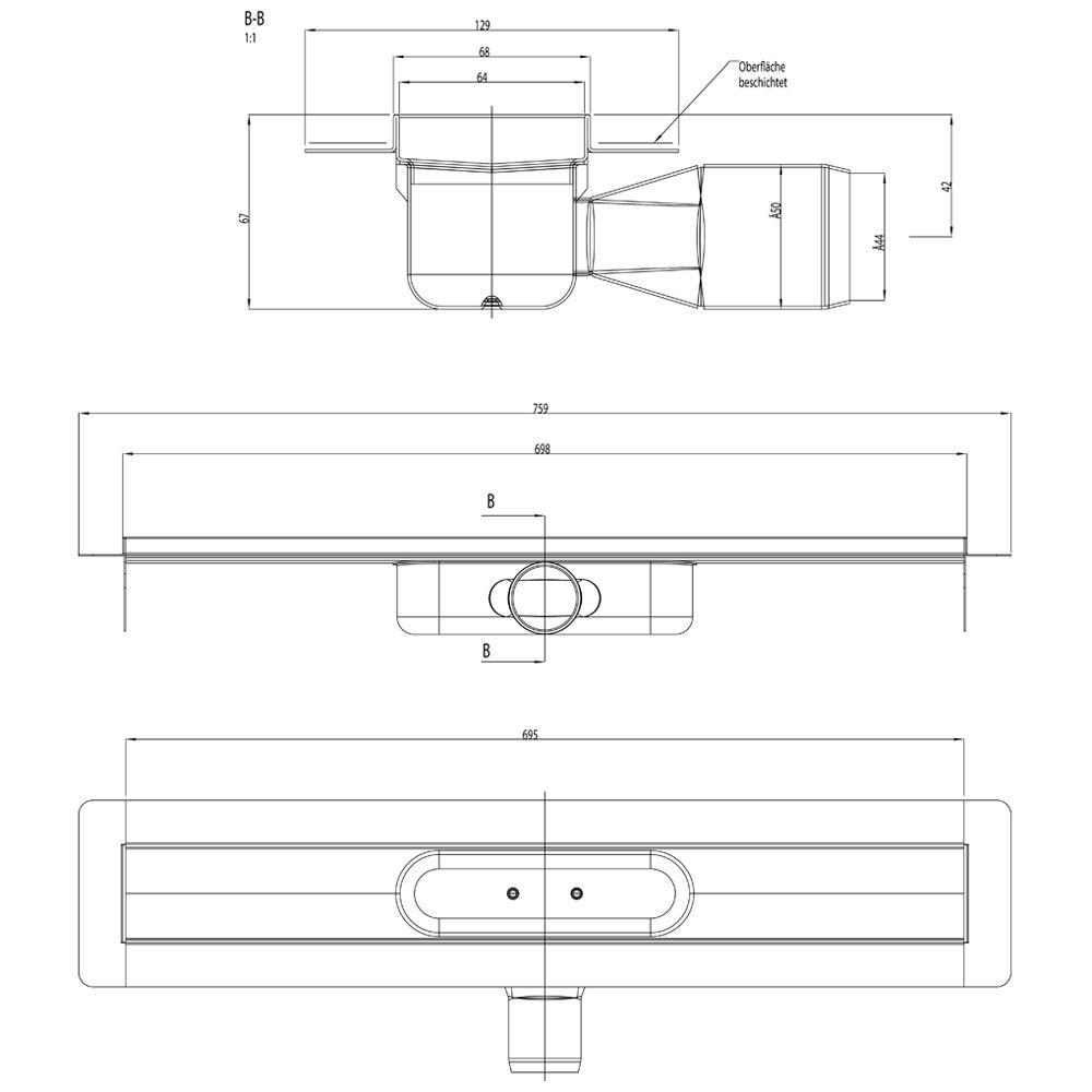aco showerdrain c duschrinne ohne aufkantung 70 cm megabad. Black Bedroom Furniture Sets. Home Design Ideas