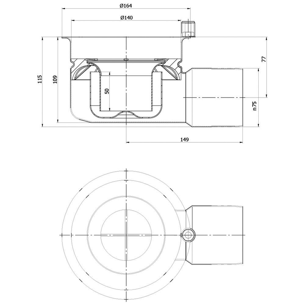 aco kastenrinnen ablaufk rper variant cr mit halterand megabad. Black Bedroom Furniture Sets. Home Design Ideas