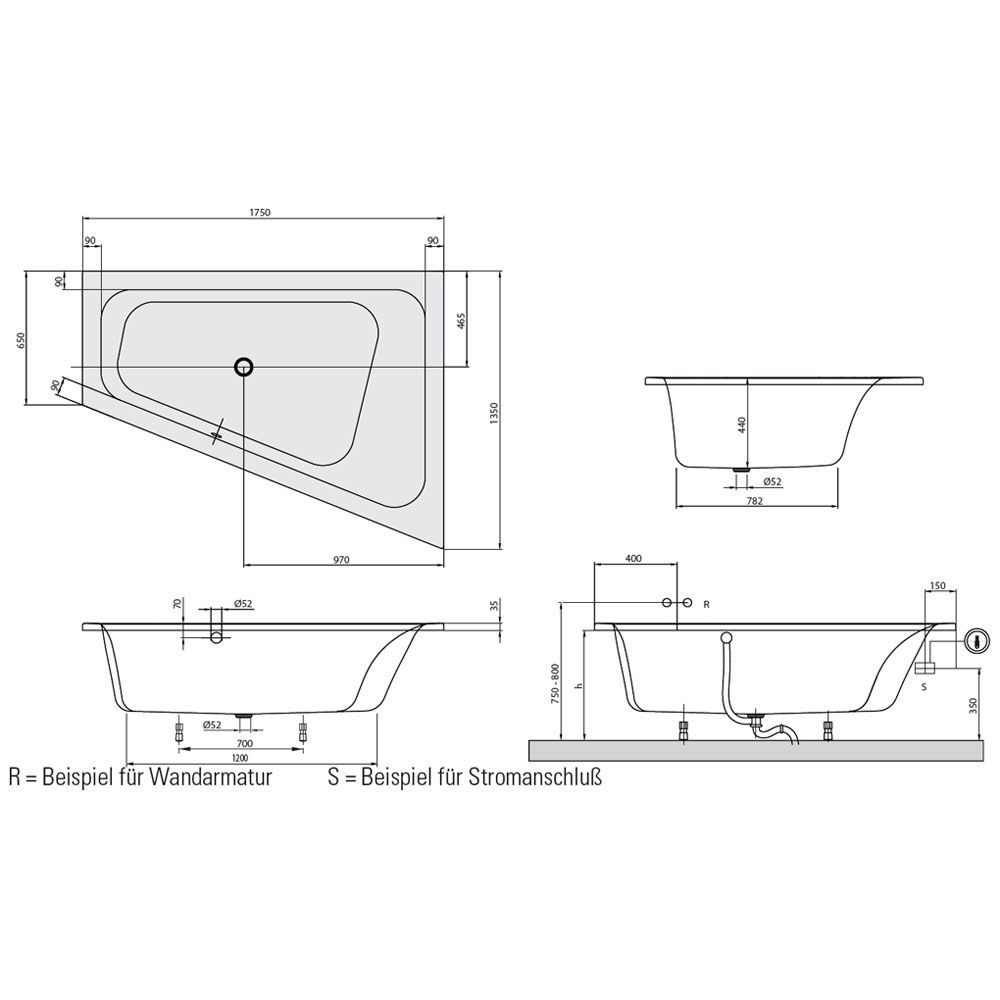 villeroy boch loop friends square eckbadewanne 175 x. Black Bedroom Furniture Sets. Home Design Ideas