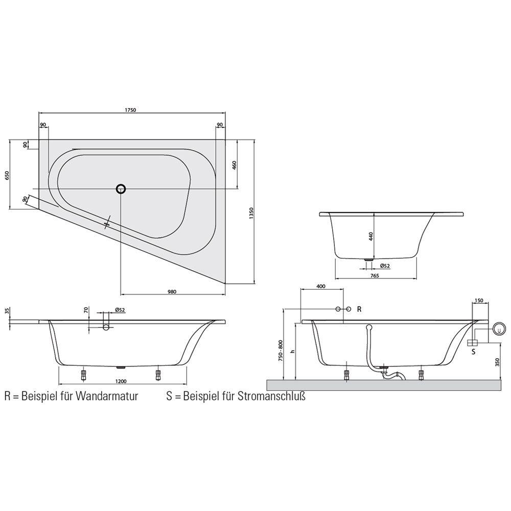 villeroy boch loop friends oval eckbadewanne 175 x 135 cm rechts combipool comfort. Black Bedroom Furniture Sets. Home Design Ideas