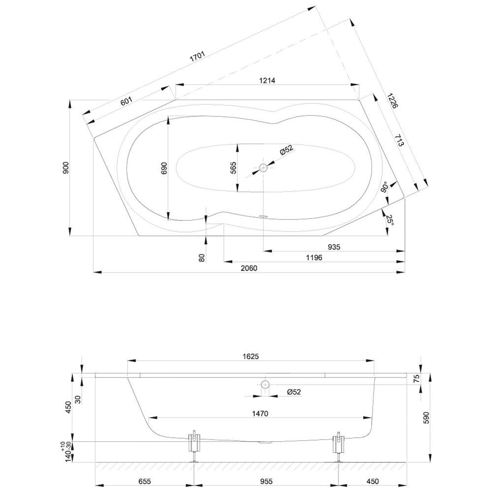 Sechseck badewanne maße  Bette Metric Sechseckbadewanne 206 x 90 x 45 cm - 6840-000 - MEGABAD