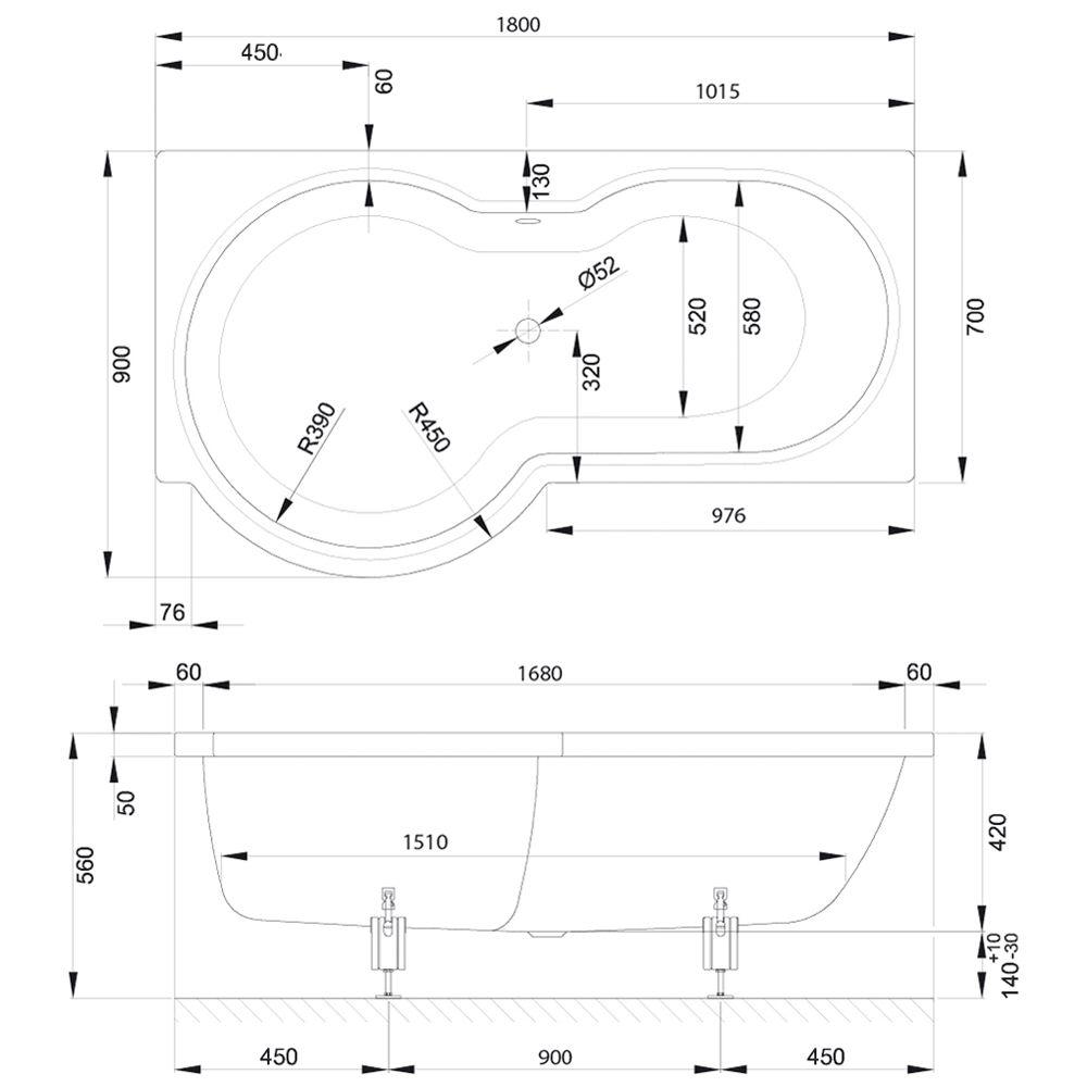 Badewanne mit duschzone 180  Bette Cora Badewanne 180 x 90 x 42 cm mit Duschzone links - MEGABAD