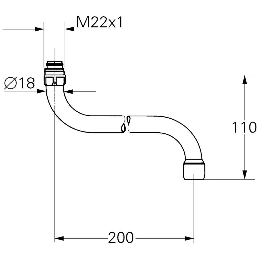 grohe rohrauslauf 13051000 f r k chen wandbatterie megabad. Black Bedroom Furniture Sets. Home Design Ideas