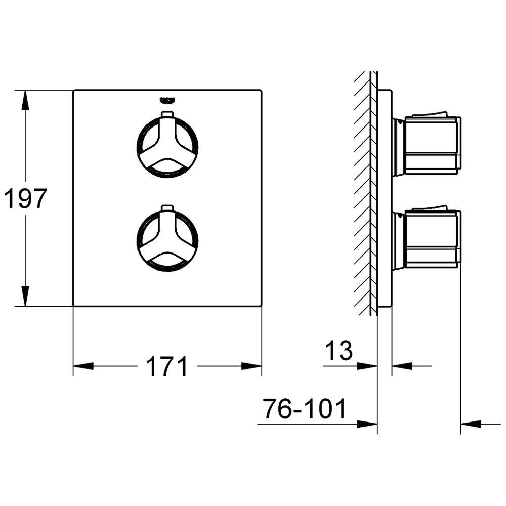 grohe allure up thermostat brausebatterie 19380000 megabad. Black Bedroom Furniture Sets. Home Design Ideas