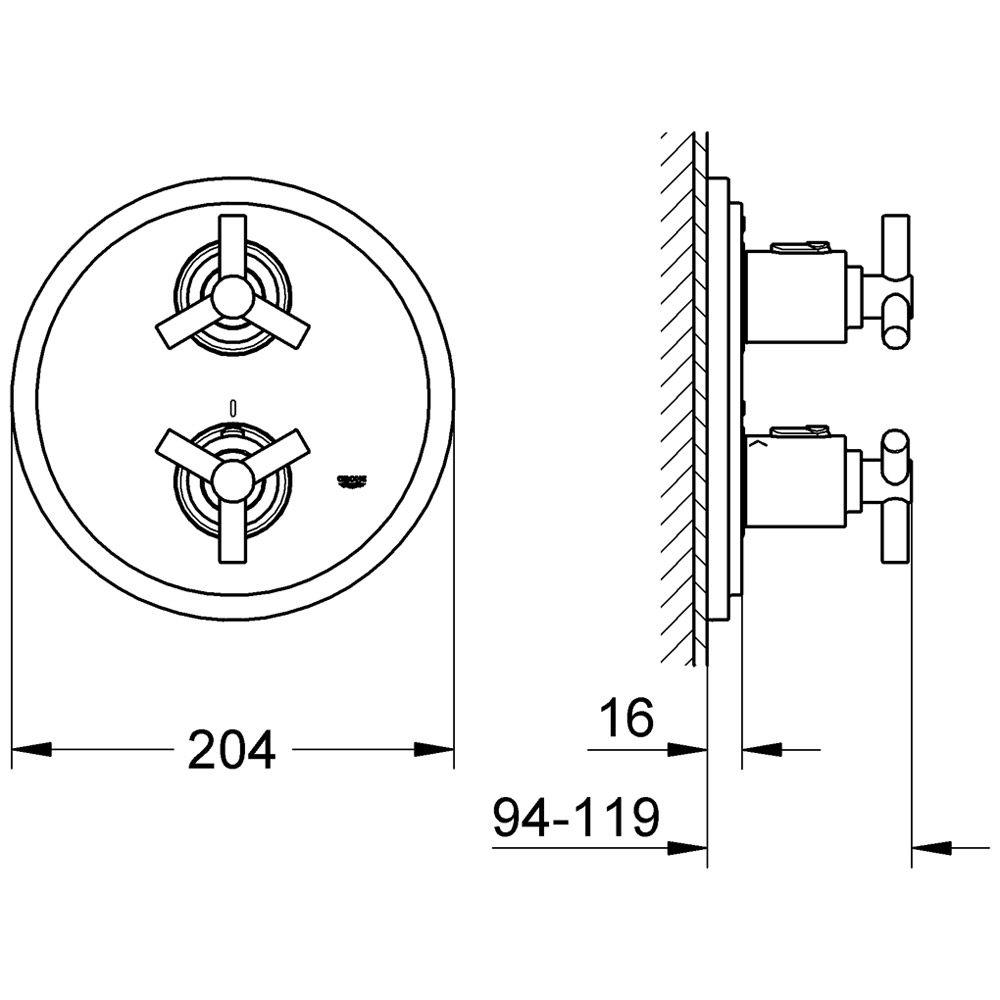 grohe atrio up thermostat brausebatterie art 19394000. Black Bedroom Furniture Sets. Home Design Ideas