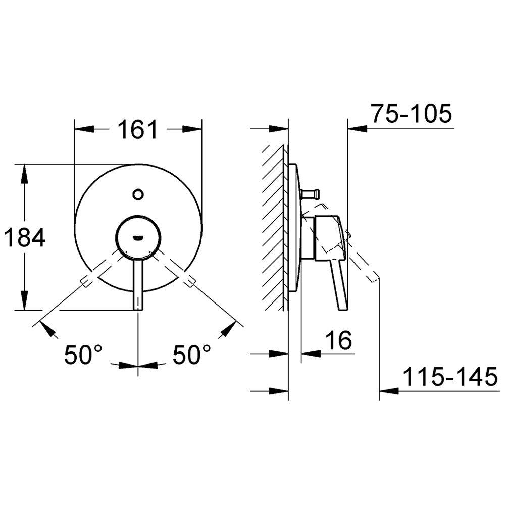grohe concetto einhand unterputz wannenbatterie 19346001. Black Bedroom Furniture Sets. Home Design Ideas