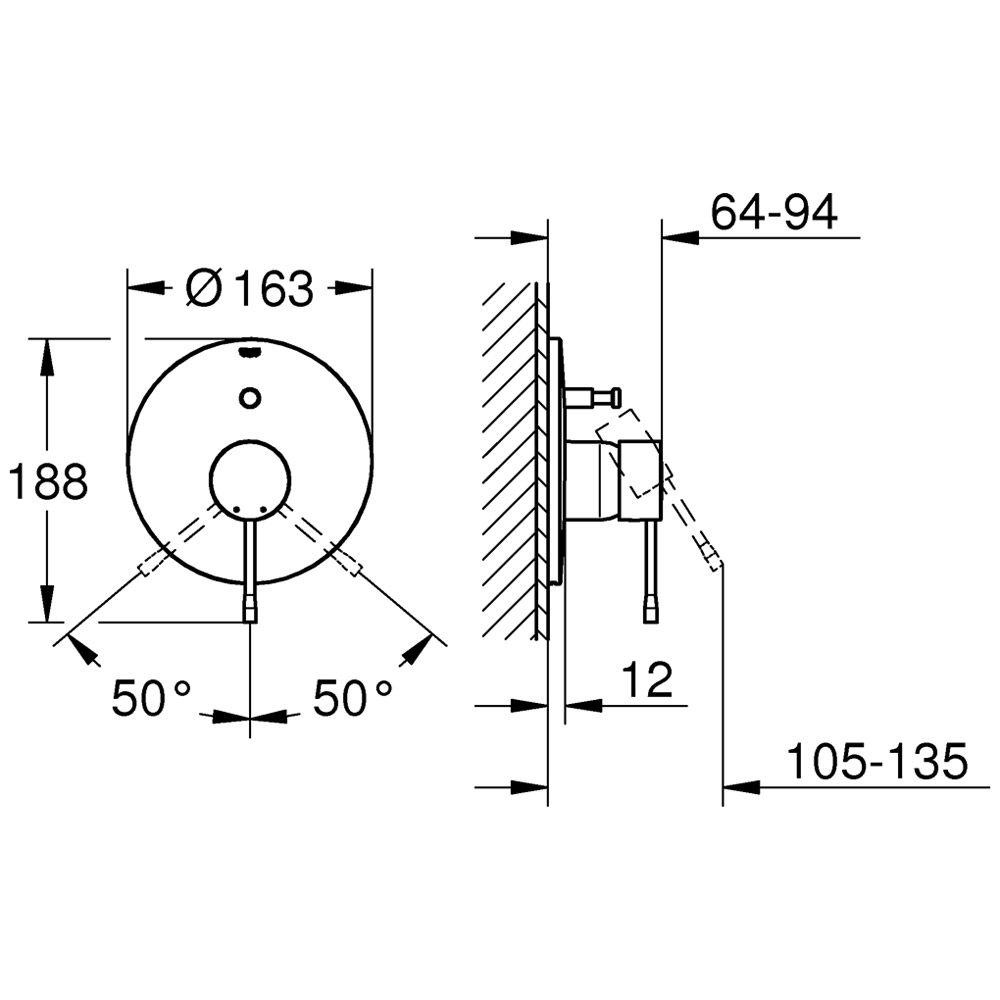 grohe essence neu einhand wannenarmatur unterputz 19285001. Black Bedroom Furniture Sets. Home Design Ideas