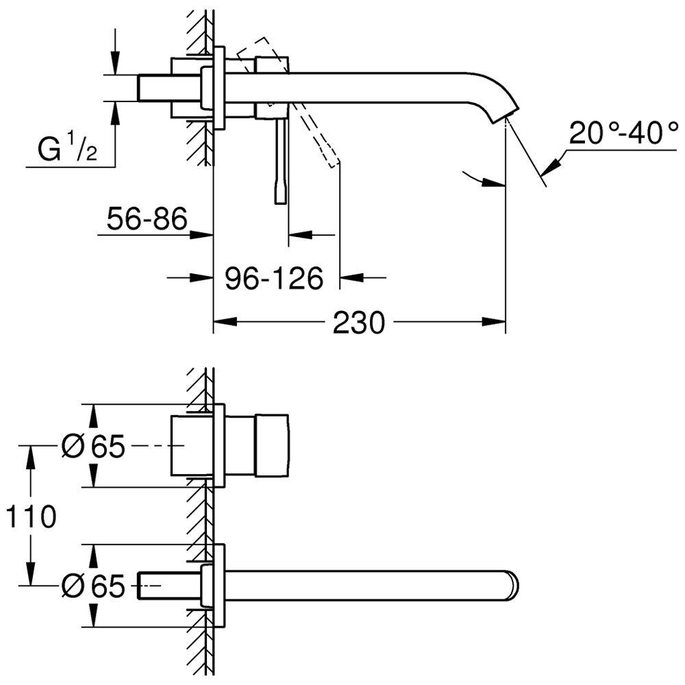 Interessant Grohe Essence Neu 2-Loch Waschtischbatterie mit langem Auslauf  SS91