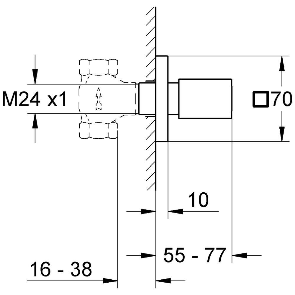 grohe eurocube oberbau f r up ventil 19910000 megabad. Black Bedroom Furniture Sets. Home Design Ideas