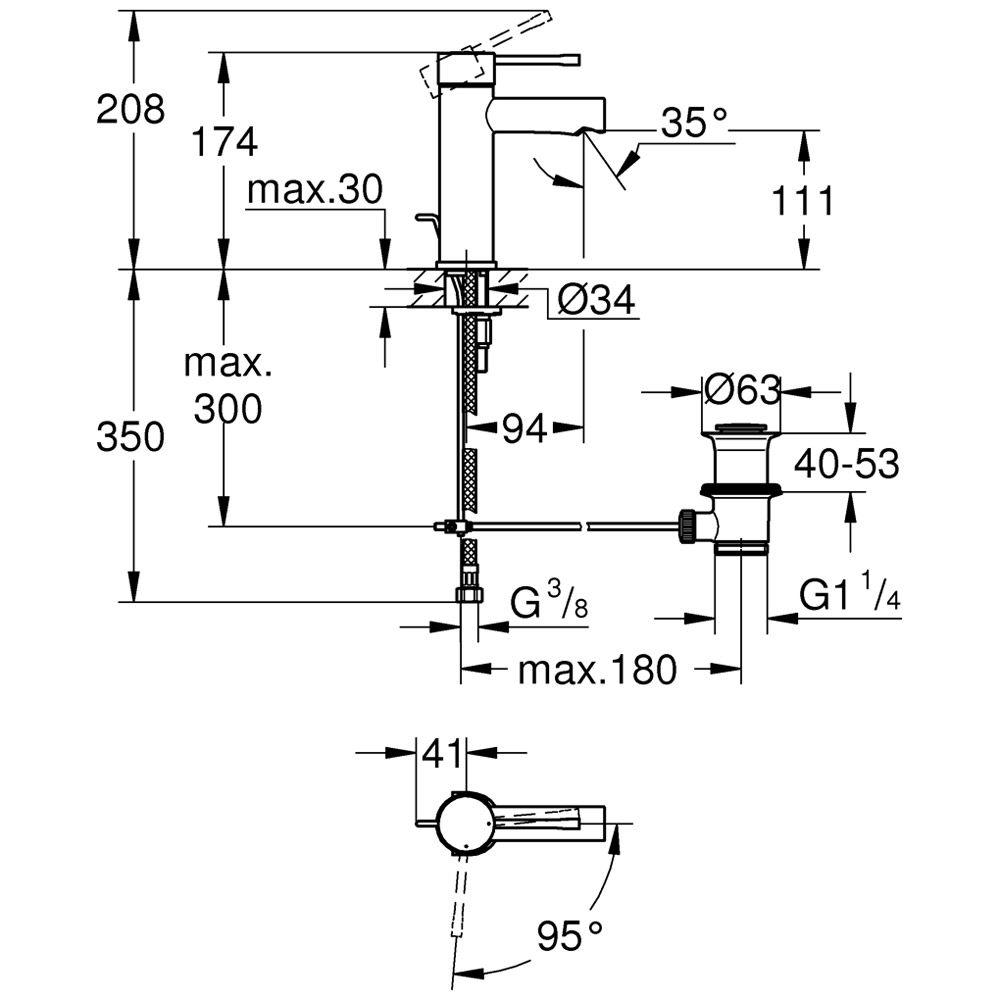 grohe essence neu einhand waschtischbatterie s size mit mittelstellung kalt 23379001 megabad. Black Bedroom Furniture Sets. Home Design Ideas