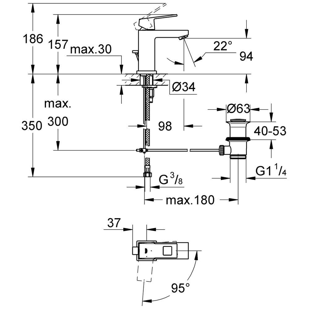 grohe eurocube einhandmischbatterie mit ablaufgarnitur 2339000e megabad. Black Bedroom Furniture Sets. Home Design Ideas