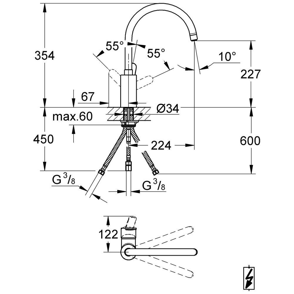 grohe eurostyle c sp ltisch einhandbatterie 31127002 megabad. Black Bedroom Furniture Sets. Home Design Ideas