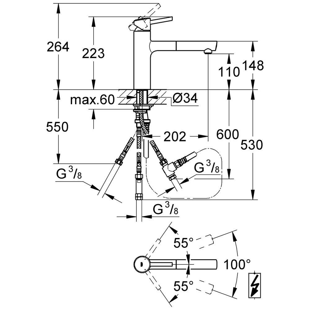grohe concetto einhand sp ltischbatterie art 31214001 megabad. Black Bedroom Furniture Sets. Home Design Ideas