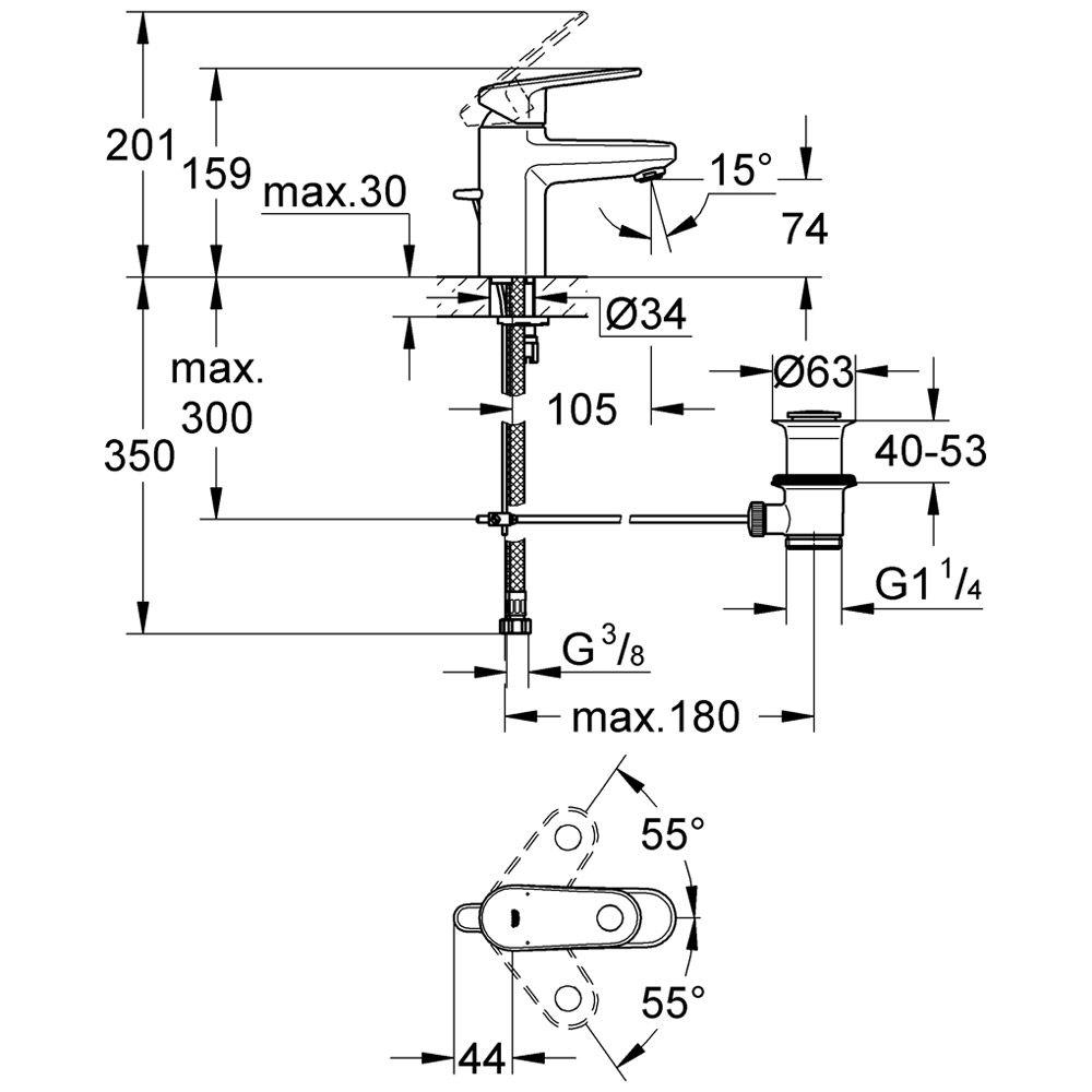 grohe europlus einhand waschtischbatterie 32612002 megabad. Black Bedroom Furniture Sets. Home Design Ideas