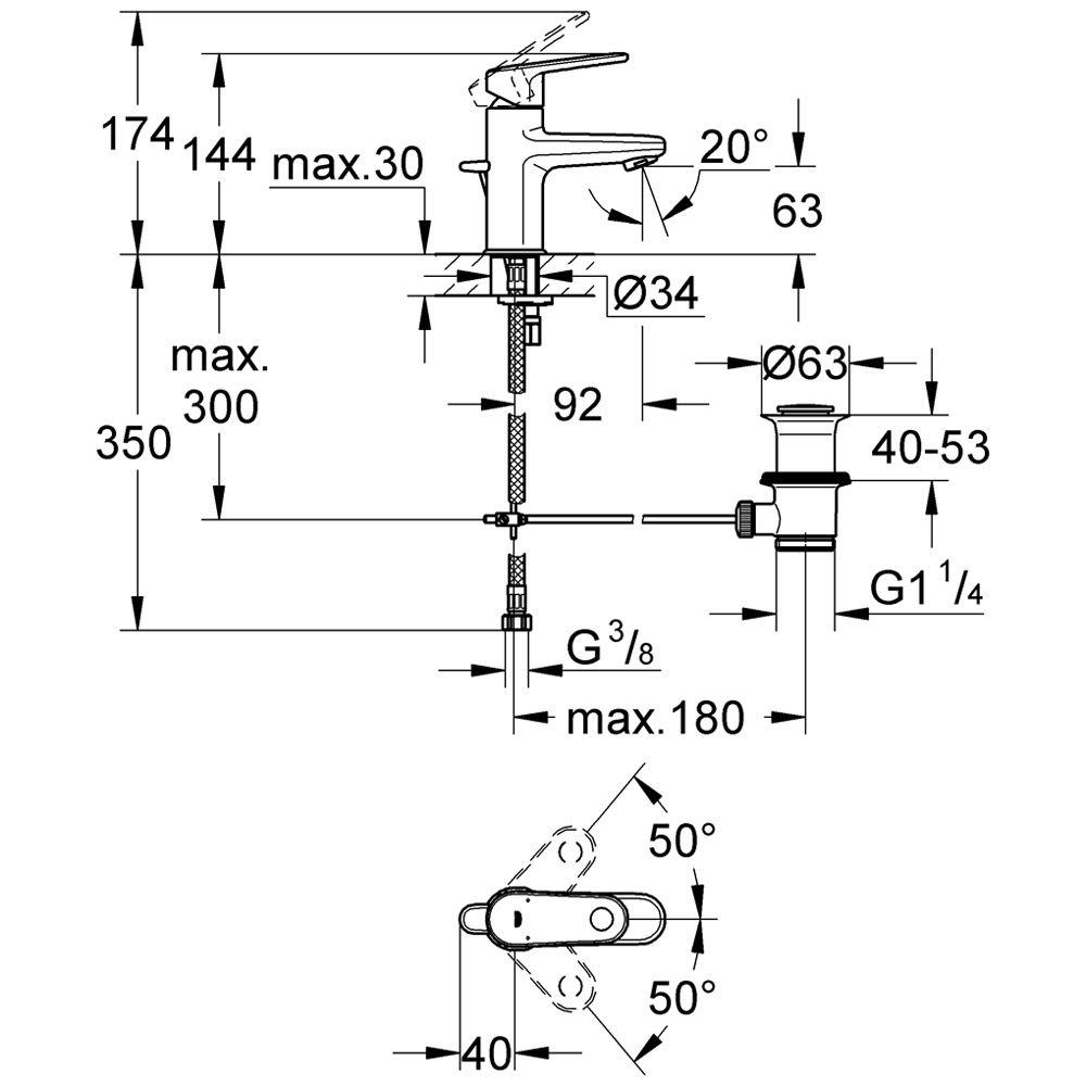 grohe europlus einhand waschtischbatterie 33156002 megabad. Black Bedroom Furniture Sets. Home Design Ideas