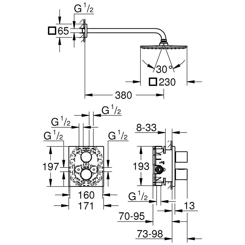 Erstaunlich Grohe Grohtherm 3000 C Unterputz-Duschsystem Cube 230 34572000  UZ57