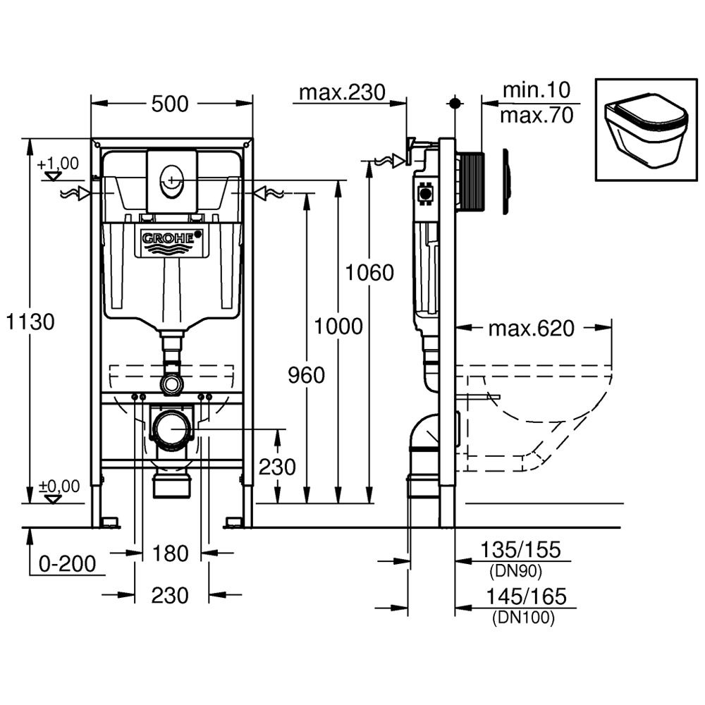 grohe rapid sl 3 in 1 set f r wc f r vorwandmontage megabad. Black Bedroom Furniture Sets. Home Design Ideas