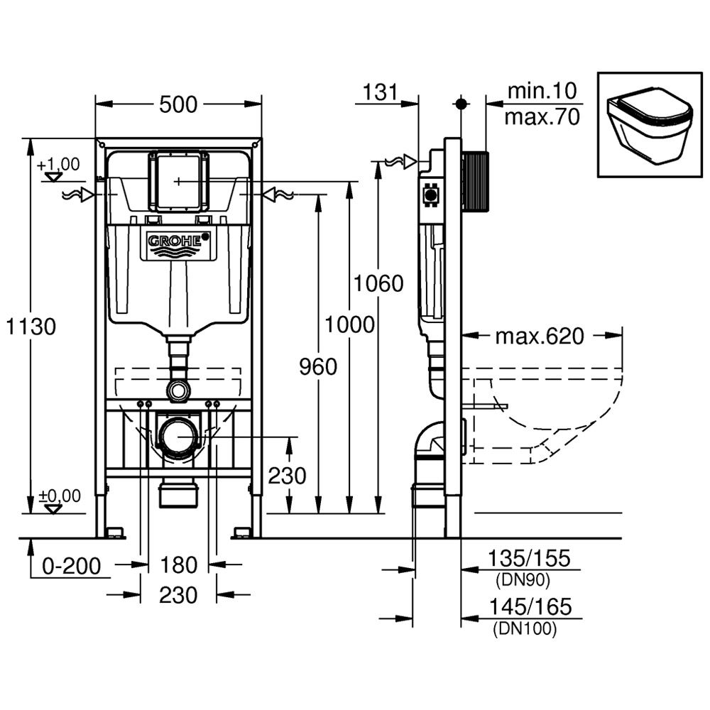 grohe rapid sl f r wand wc art 38897000 megabad. Black Bedroom Furniture Sets. Home Design Ideas