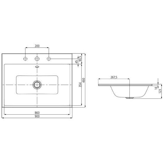 kaldewei puro einbauwaschtisch 3152 mit 1 hahnlochbohrung 90 cm 900206013001 megabad. Black Bedroom Furniture Sets. Home Design Ideas